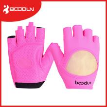 Half-Finger Fitness-Handschuhe mit Lycra auf der Rückseite für Gewichtheben