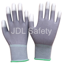 Gray Nylon Glove with PU Coated on Fingertips (PN8012)