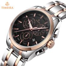 Mens Quartz Watch com mostrador preto Chronograph Aço Pulseira Watches72431