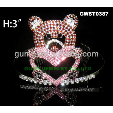 Valentine bear tiara crown