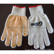 Knitting cotton yarn working gloves with pvc dots on palm