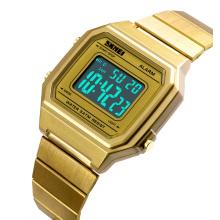 Blue light led stainless steel wrist watch odm unisex luxury watch