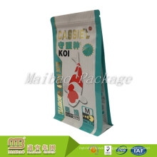 Custom Sizes Logo Printed Plastic Aluminum Foil Lined Side Gusset Packaging Zip Lock Fish Feed Bag