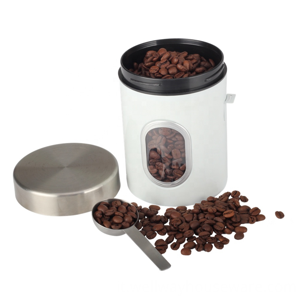 Stainless Steel Barista Bean Canister With Scoop 1