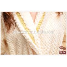 Luxus Honeycomb Jacquard Fleece Bademantel für Missy