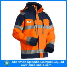 Outdoor High Visibility Safety Winter Jacket with Reflective Stripes