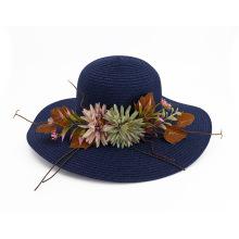 Belleza flor sombrero de paja portátil sun beanie cap