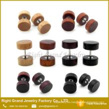 Madera natural, marrón, negro orgánico cuerpo joyería falso tapón de madera