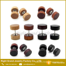 Natural Wood, Brown, Black organic wood body Jewelry Fake Plug