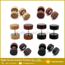 Natural Wood, Brown, Black organic wood body Jewelry Fake Plug