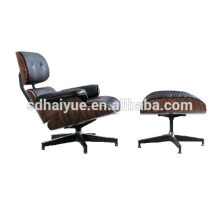 Haiyue Top sale beauty black leather wooden comfortable lounge chair