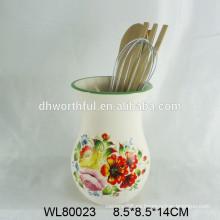Moderno titular de utensilios de cerámica con flor de calcomanía