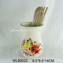 Modern ceramic utensil holder with flower decal