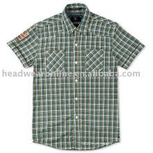 Camisas masculinas casuais com tag