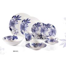 Новые костяного фарфора голубой цветочные столовой посуды