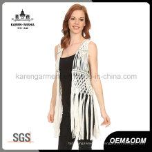 Lady's Fashion - Fringe - Manteau en crochet métallisé au crochet