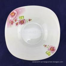 forma quadrada de tigela de salada de porcelana fina