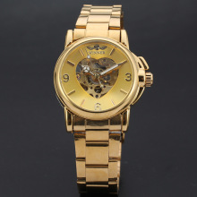 heart shaped skeleton design dial golden winner watch