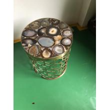 semi precious grey agate side table