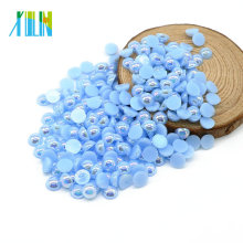 Excellent Quality ABS Flatback Nail Art Pearl Cut in Half for Nail Art DIY , A10-Lt.aquamarine AB