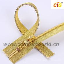 Dents d'or de tirette en nylon NO.5 avec la bande d'or