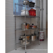 Hot Sale DIY Chrome Metal Wire Kitchen Storage Pan Organizer Rack Shelf
