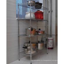 Горячие продажи DIY Chrome металлической проволоки кухни хранения Pan Организатор стойку стойку