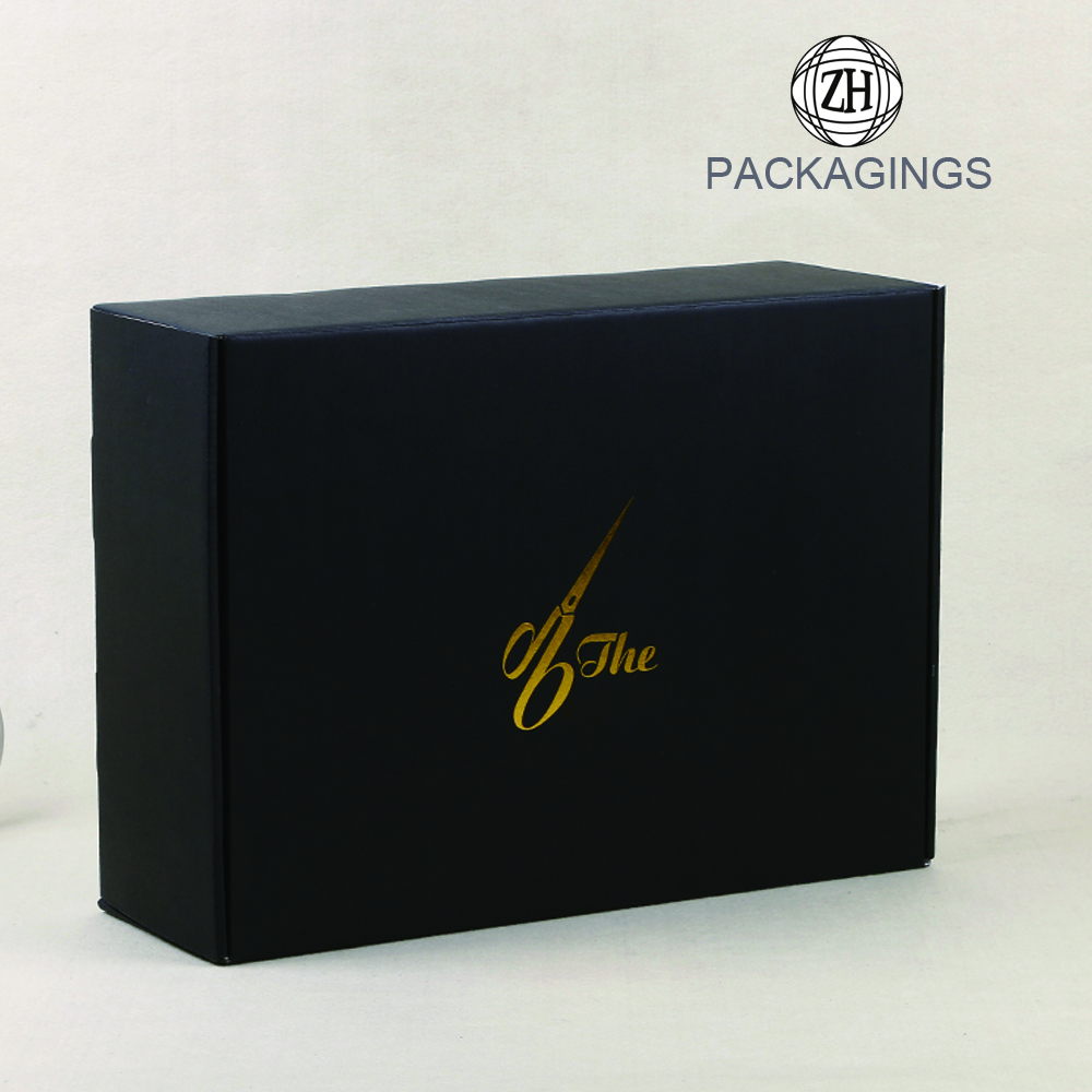 Gold foil stamping matt black gift shipping box