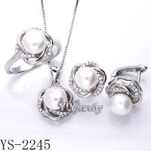 Joyería de plata conjunto de perlas 925 plata para la fiesta (ys-2245)