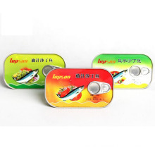 Hot Selling 125g Canned Sardine in Oil in Plate Can