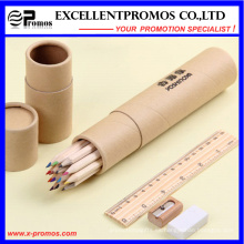 12PCS Lápiz de madera del color de la pulgada de la promoción 7 fijado con la regla, sacapuntas, borrador en el tubo de papel (EP-P9077)