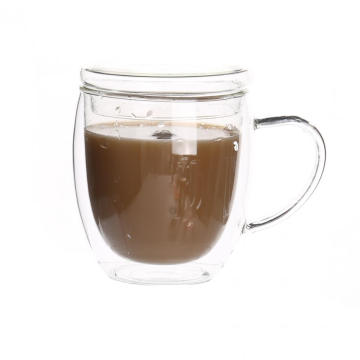 Double Wall Custom Glass Mug For Black Coffee