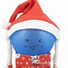 Red Fabric Santa Hat, Comes in Two Pigtail, Nice for Promotional Gift Purposes