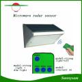 1000lm 56 LED microondas radar sensor de control remoto de pared montado inalámbrico jardín solar de luz