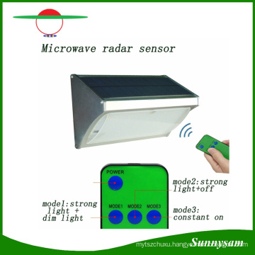 1000lm 56 LED Microwave Radar Sensor Remote Control Wall Mounted Wireless Solar Garden Light