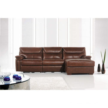 Genuine Leather Chaise Leather Sofa Electric Recliner Sofa (717)