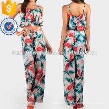 Folha de impressão Lace Up Crop And Matching Pant Set Fabricação Atacado Moda Feminina Vestuário (TA4111SS)