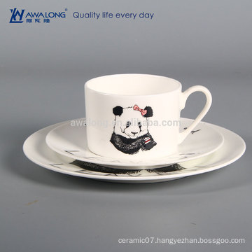 cute panda animal porcelain dinner plate and tea cup for cafe