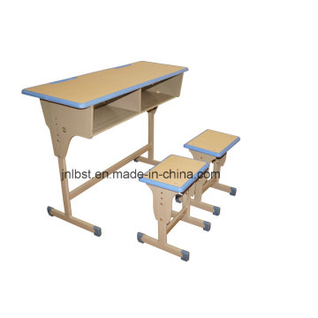 School Furniture School Sets Students Kids Double School Desk and Attached Chairs