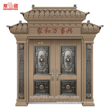 High end twin door leaf exterior steel main front door design with door handle stainless steel