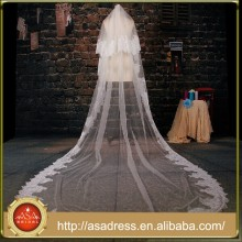 BV1006 2015 New Real Photo Appliques Long Wedding Veil One Layer Lace Purfle Bride Veils