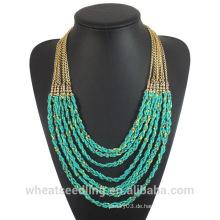 2016 Mode afrikanischen Türkis Perlen Halskette mit Legierung Kette für Frauen