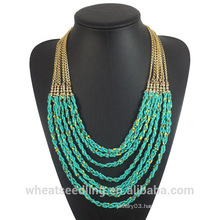 2016 Fashion African turquoise beads necklace with alloy chain for women