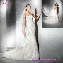 Vestido de novia hermosa sirena sin espalda bordado cariño