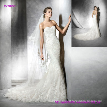 Lindo querido bordado backless sereia vestido de noiva