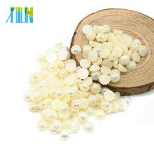 Vente chaude demi-rond dos plat perles en plastique perles et strass pour l'artisanat, A5-Beige AB