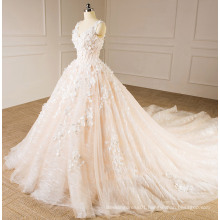 Light Champagne Strapless Wedding Gown