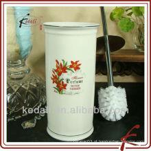 Porta escova de cerâmica com design de flor