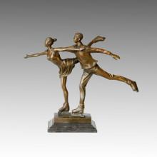 Sport Statue Paar Skating Bronze Skulptur, Milo TPE-388