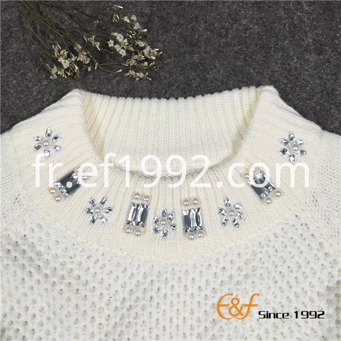 Half Turtleneck Raglan Sleeves Women Sweater with Beads